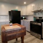 Apartment appliances and butcher block