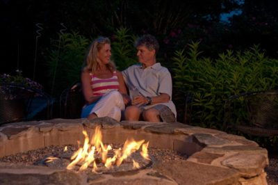 Peter and Denise cuddle up at the firepit