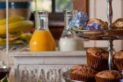 Fresh orange juice and baked muffins