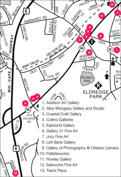A map of Orleans describing where the art galleries are
