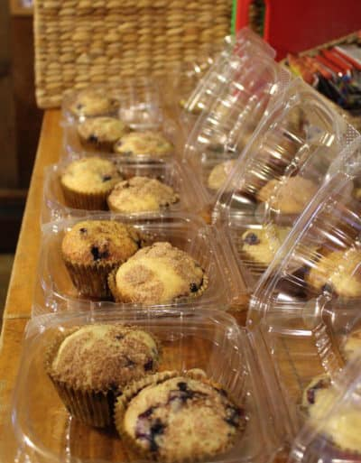 Boxed muffins to go for breakfast